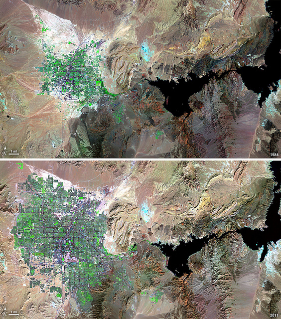 Las Vegas urban sprawl,1984-2011. Credit: NASA/USGS