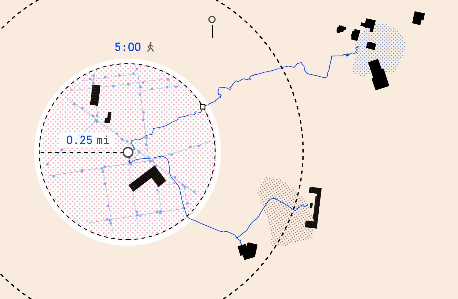 The 5-minute walk on 150 mile radius map, 75 mile radius map, 100 mile radius map, 40 mile radius map, 25 mile radius map, 300 mile radius map,